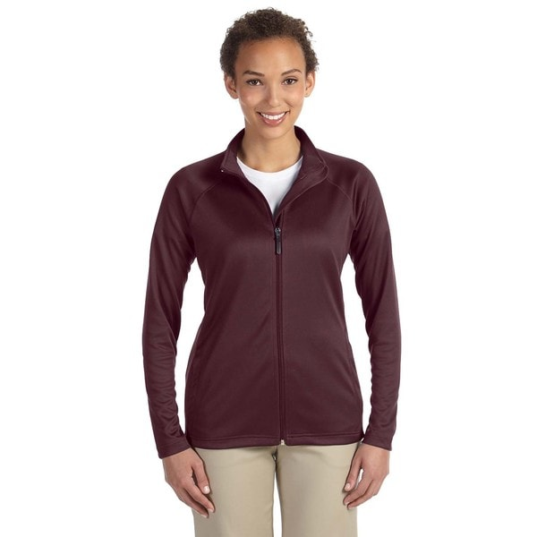 Stretch Women's Burgundy Heather Tech-Shell Compass Full-Zip