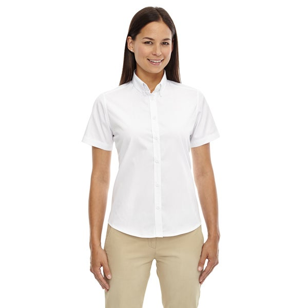 Optimum Women's White Short-sleeved Twill Dress Shirt