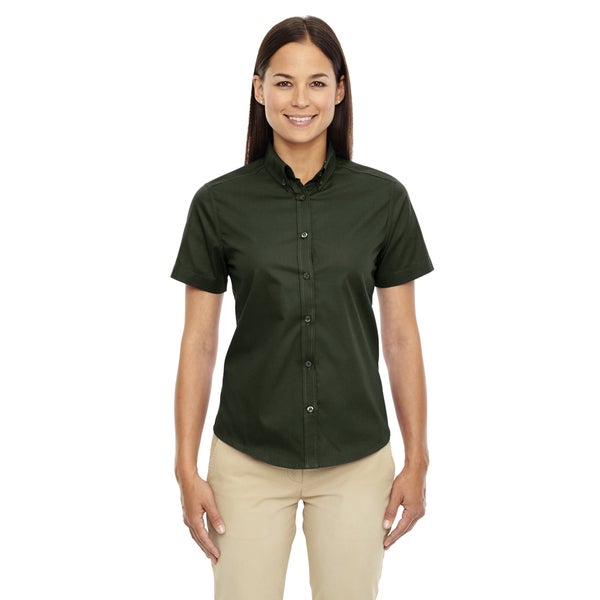 Optimum Women's 630 Forest Green Twill Short-Sleeve Dress Shirt