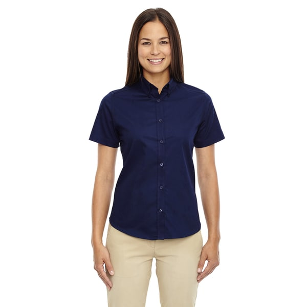 Optimum Women's Classic Navy Short-sleeve Twill Dress Shirt