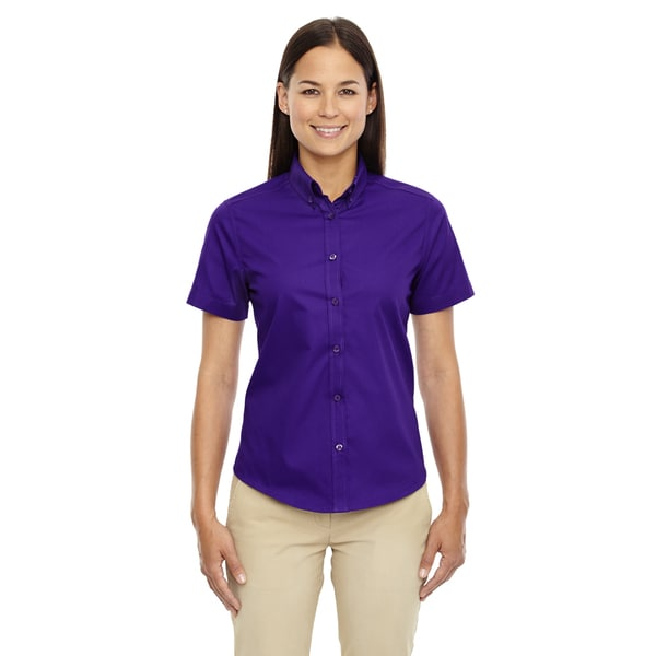 Optimum Women's Purple Twill Short-sleeved Dress Shirt