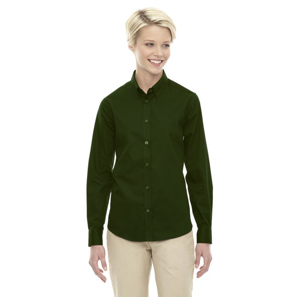 Operate Women's 630 Forest Green Twill Long-sleeve Dress Shirt