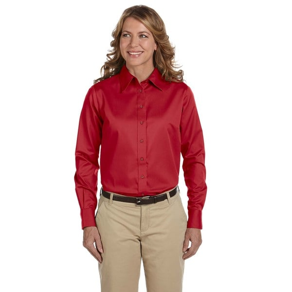 Easy Blend Women's Red Cotton/Polyester Long-sleeve Twill Dress Shirt With Stain Release
