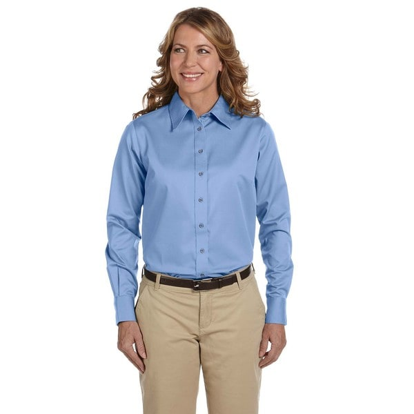 Easy Blend Women's Long-Sleeve Twill Dress Shirt With Stain-Release Light College Blue