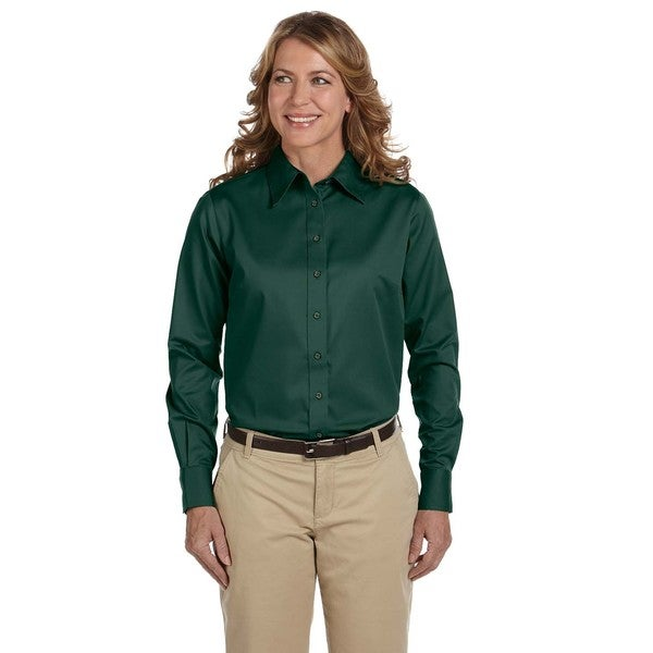 Easy Blend Women's Hunter Green Long-sleeved Twill Stain-release Dress Shirt