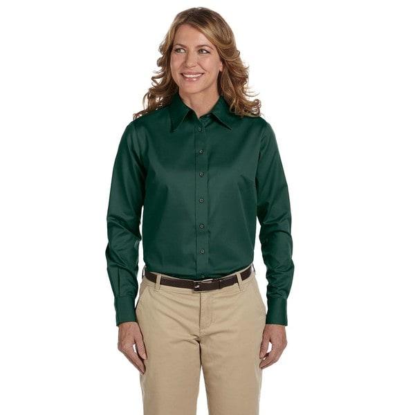 Easy Blend Women's Hunter Green Long-sleeved Twill Stain-release Dress Shirt