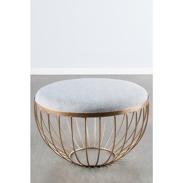 Kylie Round Bronze Metal Linen Ottoman