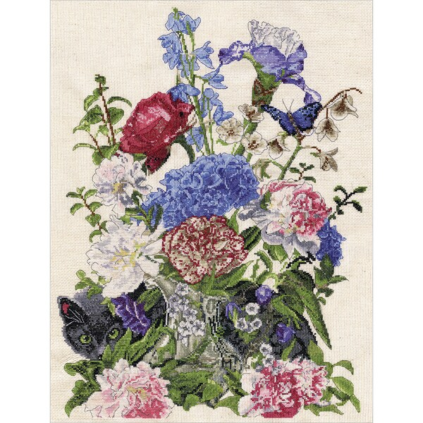 Bouquet With Cat Counted Cross Stitch Kit 19733014