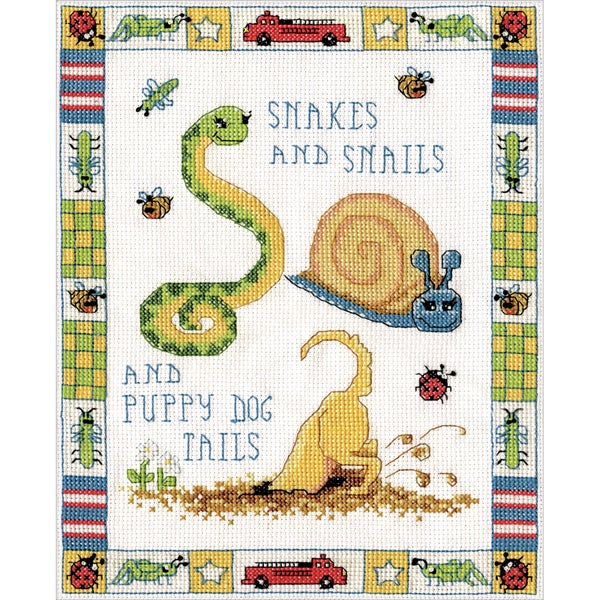 Snakes And Snails Counted Cross Stitch Kit