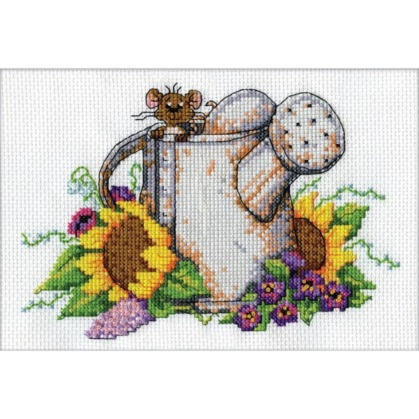 Watering Can Mouse Mini Counted Cross Stitch Kit