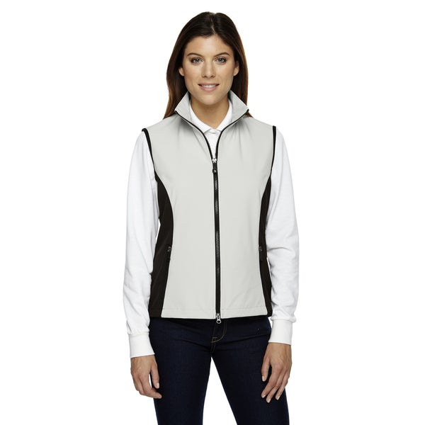 Three-Layer Women's White/Black Polyester-blend Light Bonded Performance Soft Shell Vest