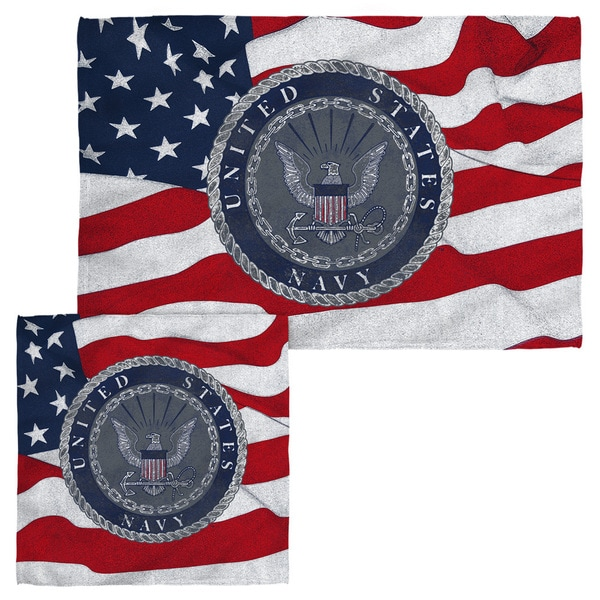 NAVY/FLAG SEAL Face/Hand Towel Combo