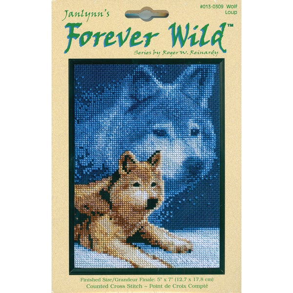 Forever Wild Wolf Mini Counted Cross Stitch Kit
