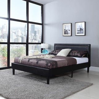 Deluxe Nailhead Trimmed Black Bonded Leather Platform Bed with Wooden Slats
