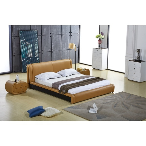 Zoe Contemporary Brown Faux Leather Platform Bed