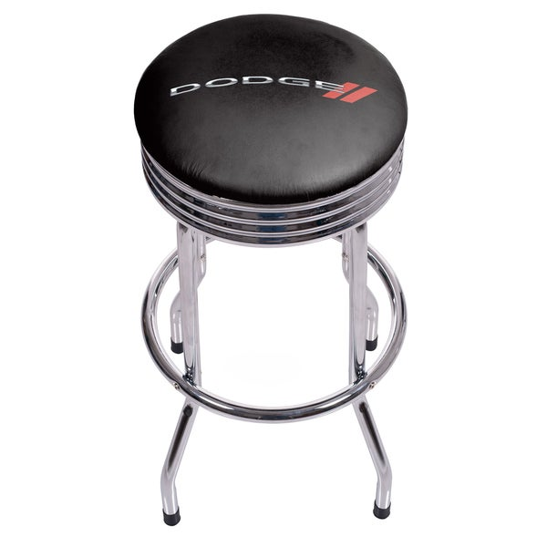 Dodge Single Ring Ribbed Stool - Chrome