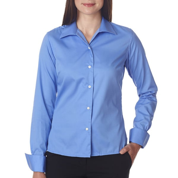 Whisper Women's Dress Shirt Elite Twill Waterfall Blue