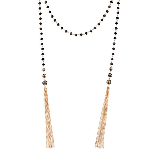 Saachi Black Lariat Chain Tassel Beaded Necklace (China)