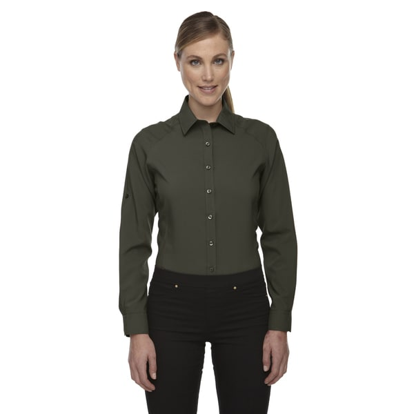 Rejuvenate Women's Green Polyester-blend Performance Shirt With Roll-Up Sleeves