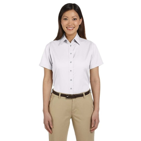 Easy Blend Women's White Twill Short-sleeve Dress Shirt with Stain Release