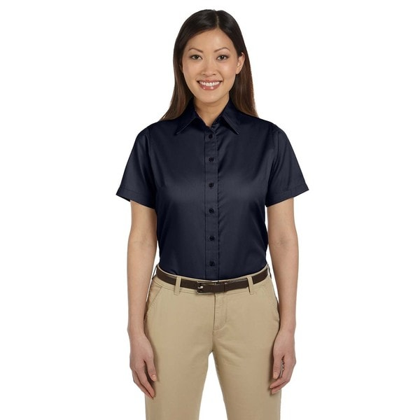 Easy Blend Women's Navy Blue Twill Short-sleeve Dress Shirt with Stain Release