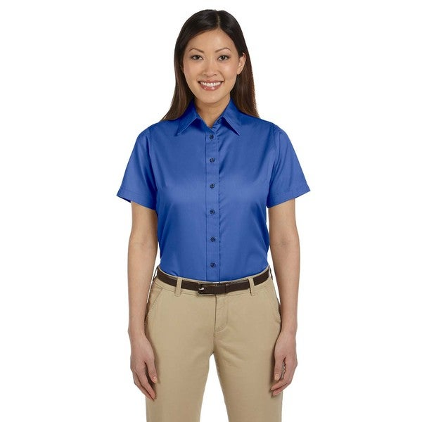 Easy Blend Women's Short-Sleeve French Blue Cotton/Polyester Twill Stain-Release Dress Shirt