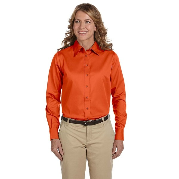 Easy Blend Women's Team Orange Twill Long-sleeve Dress Shirt with Stain Release