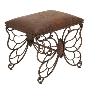 Metal Faux Leather 18-inch High x 22-inch Wide Stool
