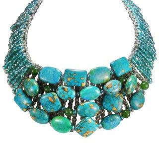 Modish Tibetan Turquoise Collar Statement Necklace (Thailand)
