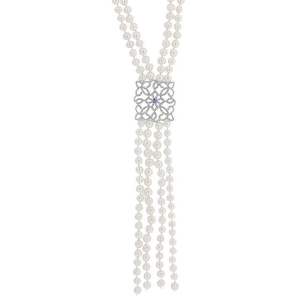 18k White Gold Freshwater Pearl Flat Square Pave Charm Necklace