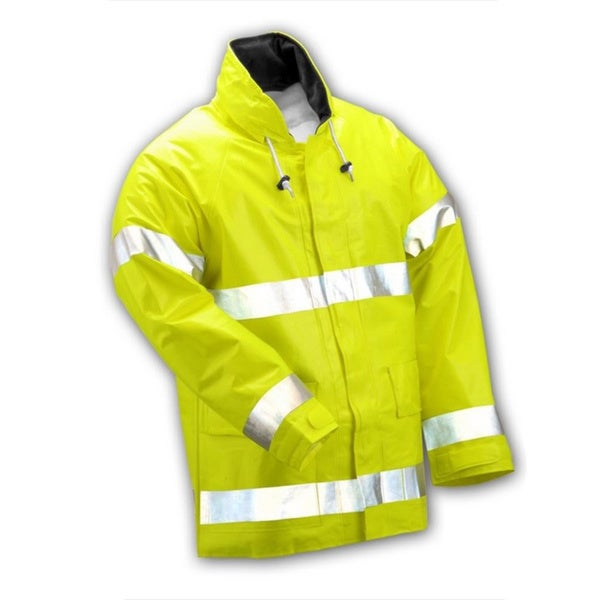 Electra Fluorescent Yellow/Green High-visibility Jacket with Attached Hood and 2-inch Reflective Tape