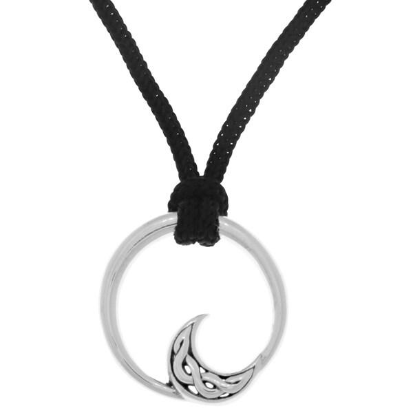 Carolina Glamour Collection Black Nylon/Sterling Silver Modern Celtic Moon Pendant Necklace