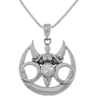 Carolina Glamour Collection Sterling Silver Triple Moon Goddess Pendant Necklace