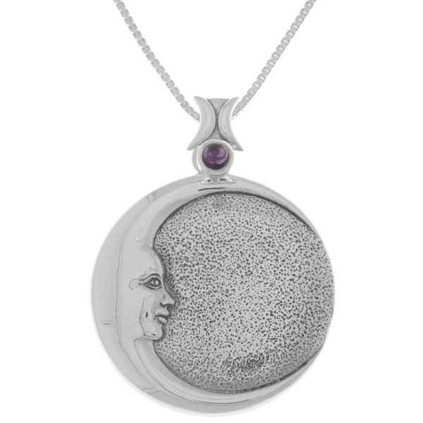 Carolina Glamour Collection Sterling Silver Crescent Moon Goddess Eclipse Pendant Amethyst Necklace