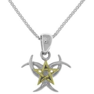 Carolina Glamour Collection Sterling Silver and 14k Goldplated Triple Moon/Pentagram Star Pendant With 18-inch Box Chain