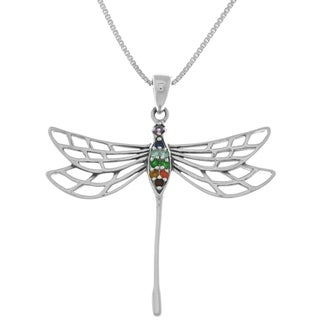 Sterling Silver Large Chakra Dragonfly Pendant Necklace