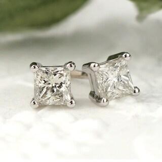Auriya 14k Gold 1/3ct TDW Princess-Cut Diamond 4-Prong Basket Push-Back Stud Earrings (J-K, I2-I3)