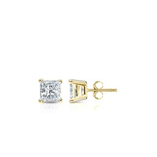 Auriya 14k Gold 1/3ct TDW Princess-Cut Diamond 4-Prong Basket Push-Back Stud Earrings (I-J, SI2-SI3)