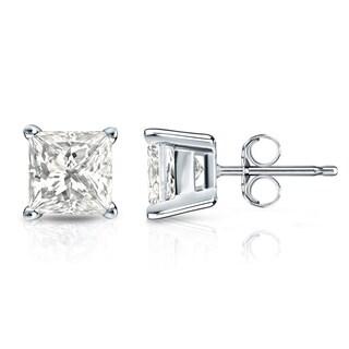 Auriya 14k Gold 1/3ct TDW Princess-Cut Diamond 4-Prong Basket Push-Back Stud Earrings (I-J, I1-I2)