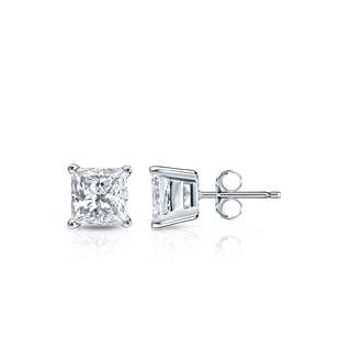 Auriya 14k Gold 1/2ct TDW Princess-Cut Diamond 4-Prong Basket Push-Back Stud Earrings (H-I, SI1-SI2)