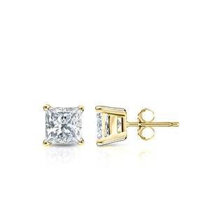 Auriya 14k Gold 1/2ct TDW Princess-Cut Diamond 4-Prong Basket Push-Back Stud Earrings (I-J, SI2-SI3)