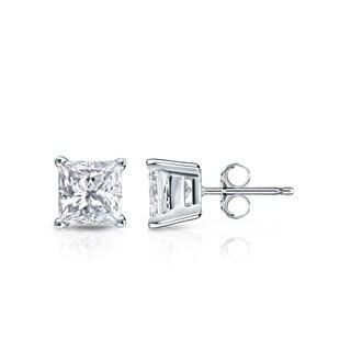 Auriya 14k Gold 3/4ct TDW Princess-Cut Diamond 4-Prong Basket Push-Back Stud Earrings (H-I, SI1-SI2)