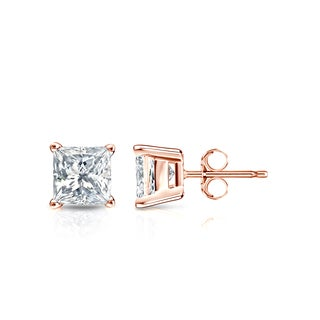 Auriya 14k Gold 3/4ct TDW Princess-Cut Diamond 4-Prong Basket Push-Back Stud Earrings (I-J, SI2-SI3)