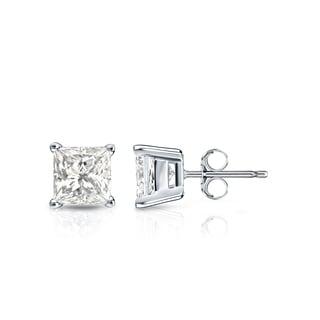 Auriya 14k Gold 3/4ct TDW Princess-Cut Diamond 4-Prong Basket Push-Back Stud Earrings (I-J, I1-I2)