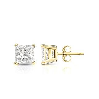 Auriya 14k Gold 1ct TDW Princess-Cut Diamond 4-Prong Basket Push-Back Stud Earrings (I-J, I1-I2)
