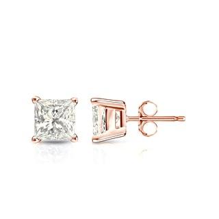 Auriya 14k Gold 1ct TDW Princess-Cut Diamond 4-Prong Basket Push-Back Stud Earrings (J-K, I2-I3)