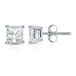 Auriya 14k Gold 1 1/4ct TDW Princess-Cut Diamond 4-Prong Basket Push-Back Stud Earrings (H-I, SI1-SI2)