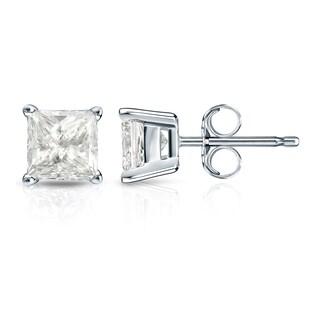 Auriya 14k Gold 1 1/4ct TDW Princess-Cut Diamond 4-Prong Basket Push-Back Stud Earrings (I-J, I1-I2)