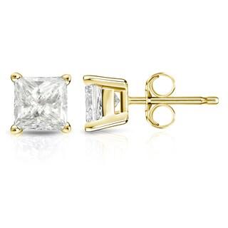 Auriya 14k Gold 1 1/2ct TDW Princess-Cut Diamond 4-Prong Basket Push-Back Stud Earrings (I-J, I1-I2)