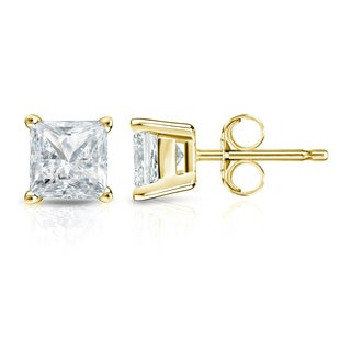 Auriya 14k Gold 1 1/4ct TDW Princess-Cut Diamond 4-Prong Basket Push-Back Stud Earrings (I-J, SI2-SI3)